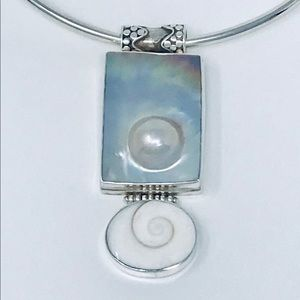 Jewelry - Shiva Shell Blister Pearl Sterling  Pendant